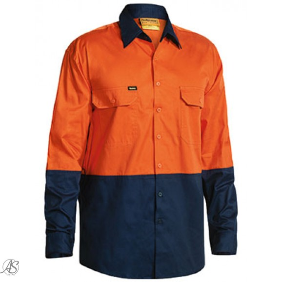 HI VIS LONG SLEEVE OPEN FRONT WORK SHIRT
