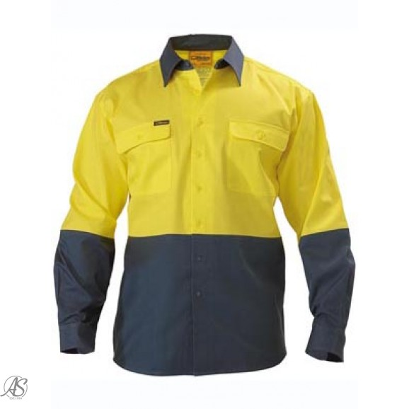 HI VIS LONG SLEEVE OPEN FRONT DRILL WORK SHIRT